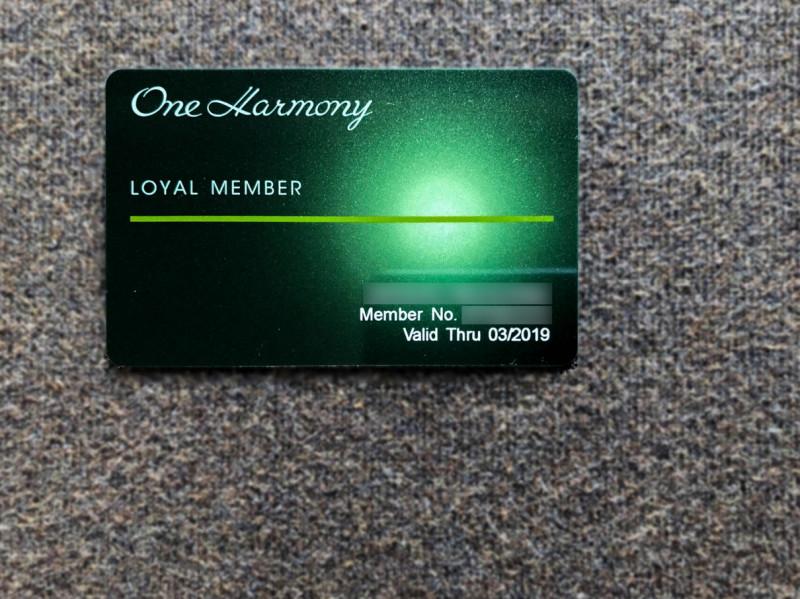 one harmony loyal member card 201803 3